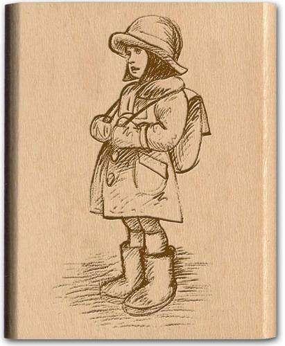 Vintage Dřevěné Razítko vhodné z kolekce NOSTALGIA Školačka Papermania
