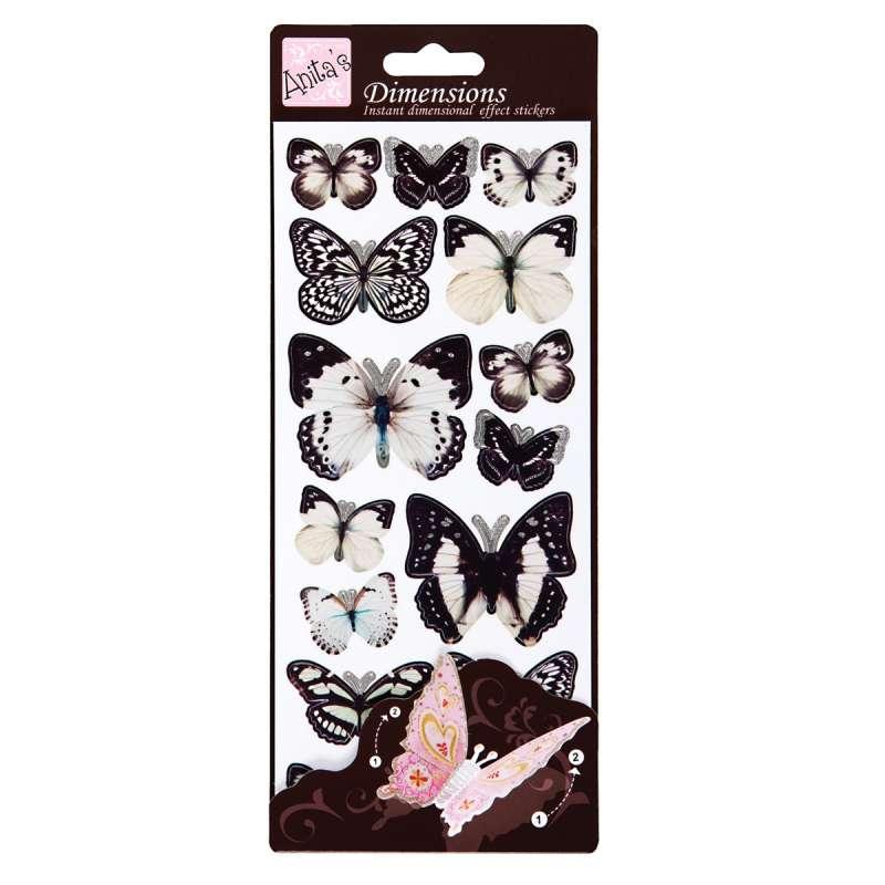 Plastické samolepky Motýlí křídla WINGS (WHITE) Anita´s