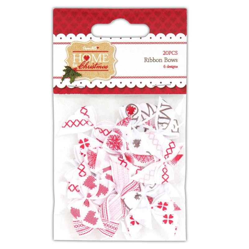 Mašličky Home for Christmas20 ks na scrapbooking, cardmaking, zdobení na bloky, přání, alba a stránky Design Objectives