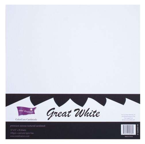 Sada čtvrtek ColorCore na scrapbooking - Bílá 30,5 x 30,5 cm - 4 kusy! ColorCore Cardstock
