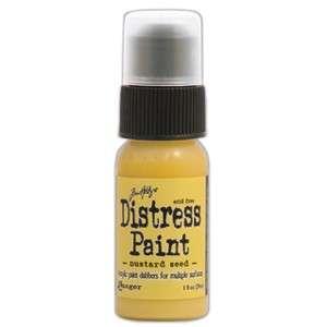 Dabber Distress paint Mustard Seed - Akrylová barva v lahvičce s aplikátorem od Ranger