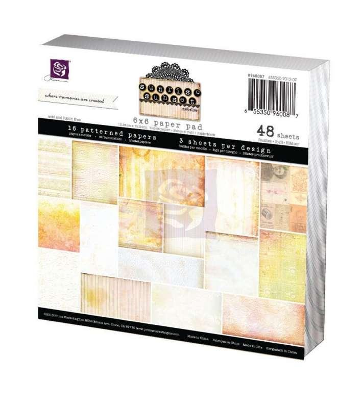 Paper Pad - Sada papírů na scapbooking Sunrise Sunset, 15x15 cm. Prima Marketing