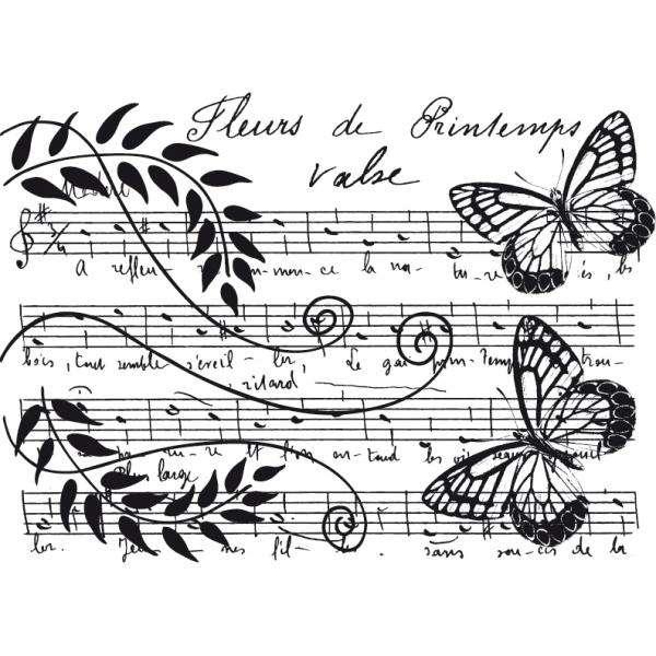 Aladine Dřevěné razítko, velikost G, květinová partitura