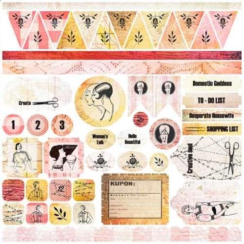Domestic Goddess - Stickers 12x12 Samolepky od 7 Dots Studio vhodná pro scrapbooking a cardmaking