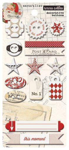 Knoflíky pro Project Life, vaše sb stránky a alba - Santas List Chipboard Buttons, knoflíky Teresa Collins