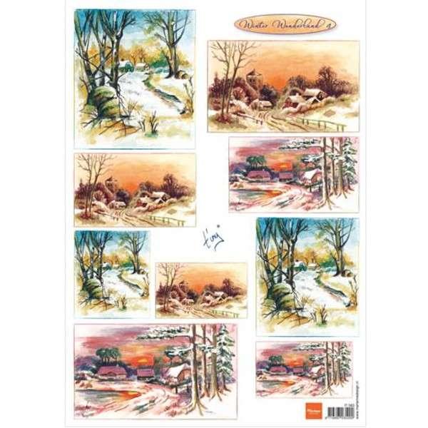 List A4 s malovanými obrázky zimní krajina Marianne Design