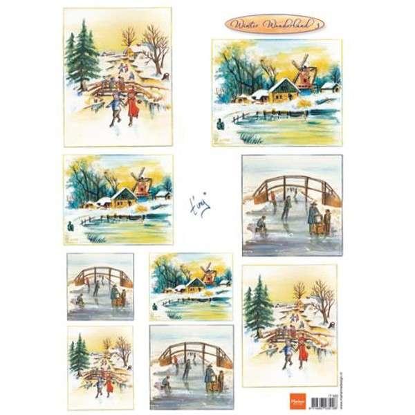 List A4 s malovanými obrázky zimní krajina na ledě Marianne Design