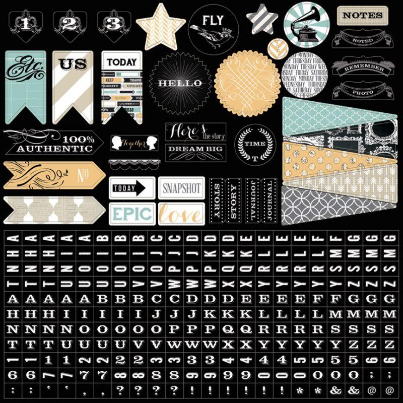 Memorabilia: 12x12 Sticker Sheet, Teresa Collins - samolepky na scrapbooking