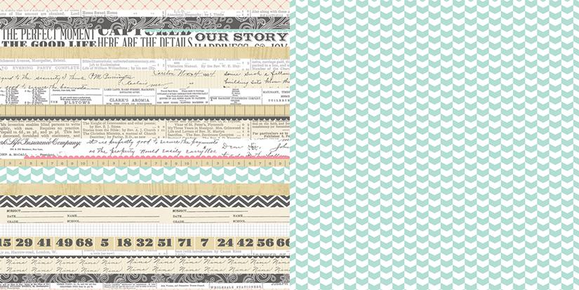 Oboustranná scrapbooková čtvrtka Family Multi Stripe, Vhodné na journaling, Project Life, k dozdobení vašich scrapbookových stránek a alb. Teresa Collins