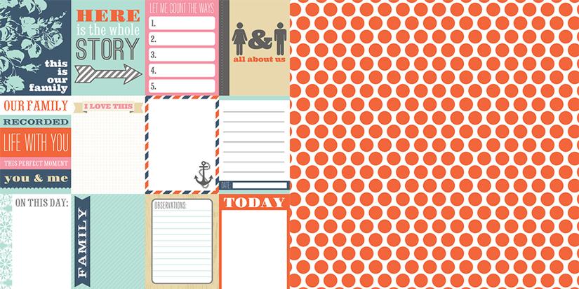 Oboustranná scrapbooková čtvrtka Family Stories Notecards, Vhodné na journaling, Project Life, k dozdobení vašich scrapbookových stránek a alb. Teresa Collins