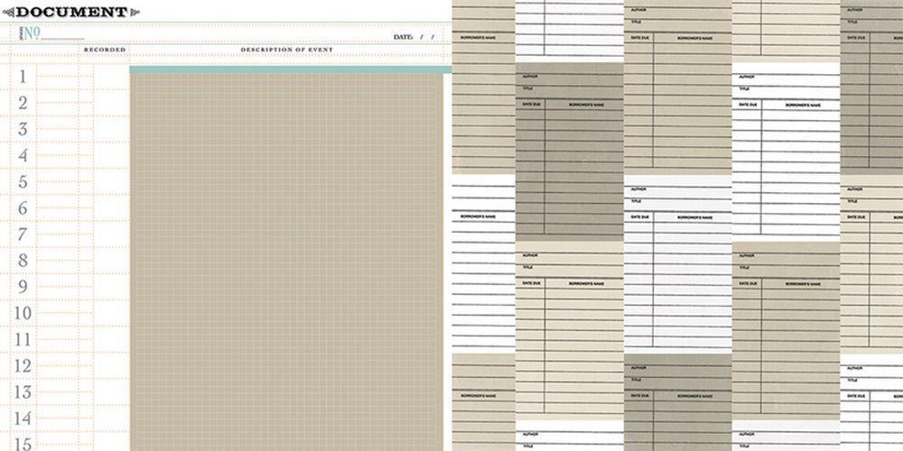 Oboustranná scrapbooková čtvrtka Memorabilia Document, Vhodné na journaling, Project Life, k dozdobení vašich scrapbookových stránek a alb. Teresa Collins