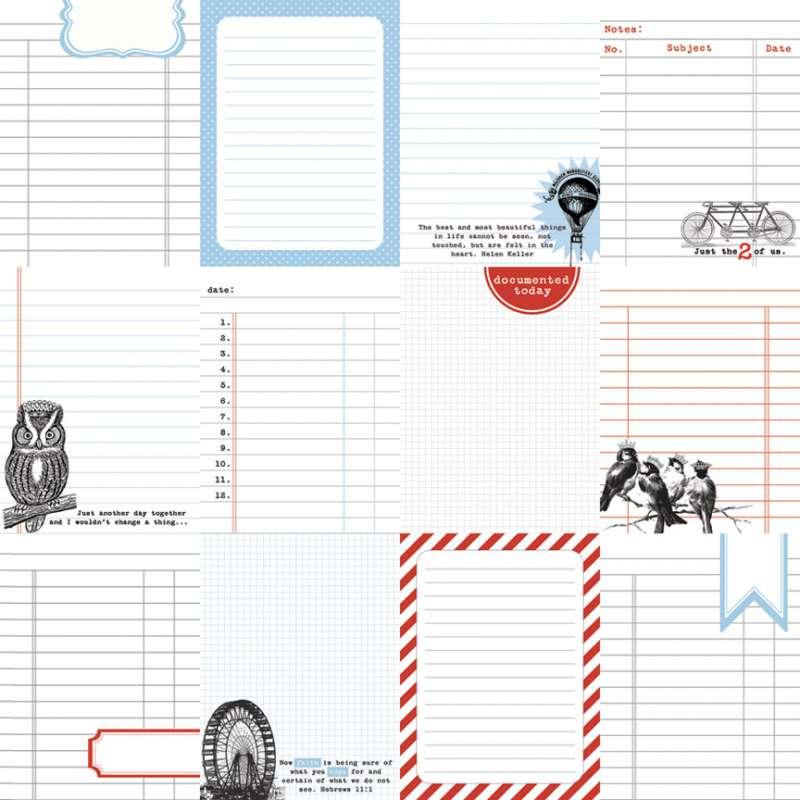 Oboustranná scrapbooková čtvrtka z kolekce Journaling Cards - Journaling Cards Teresa Collins