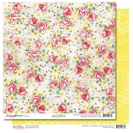 Oboustranná scrapbooková čtvrtka z kolekce Scrapbooková čtvrtka Cashmere Dame Floral Glitz