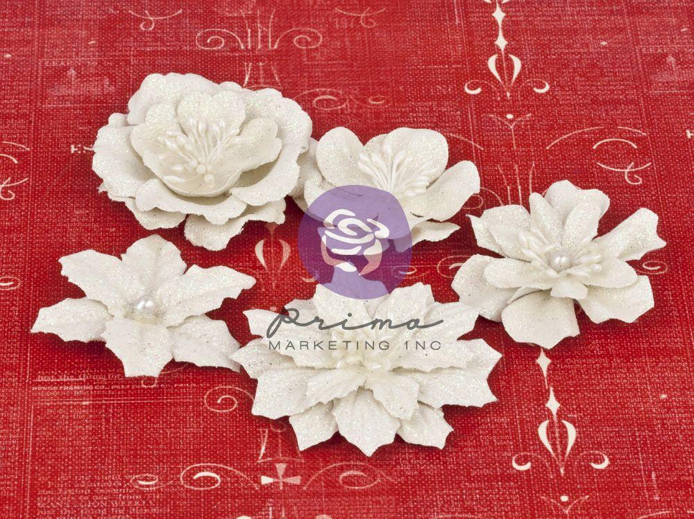 Papírové kytky jako dekorace na scrapbooking - Christmas Flowers White, zdobené květiny Prima Marketing