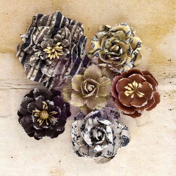 Papírové kytky jako dekorace na scrapbooking - Engraver Roses, zdobené růže Prima Marketing