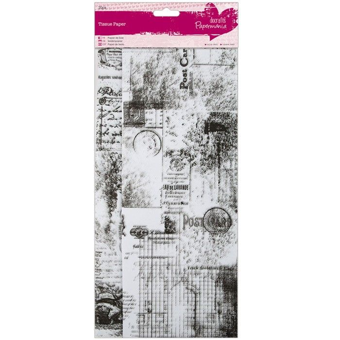 Hedvábný papír s potiskem (20ks) Pohlednice Papermania