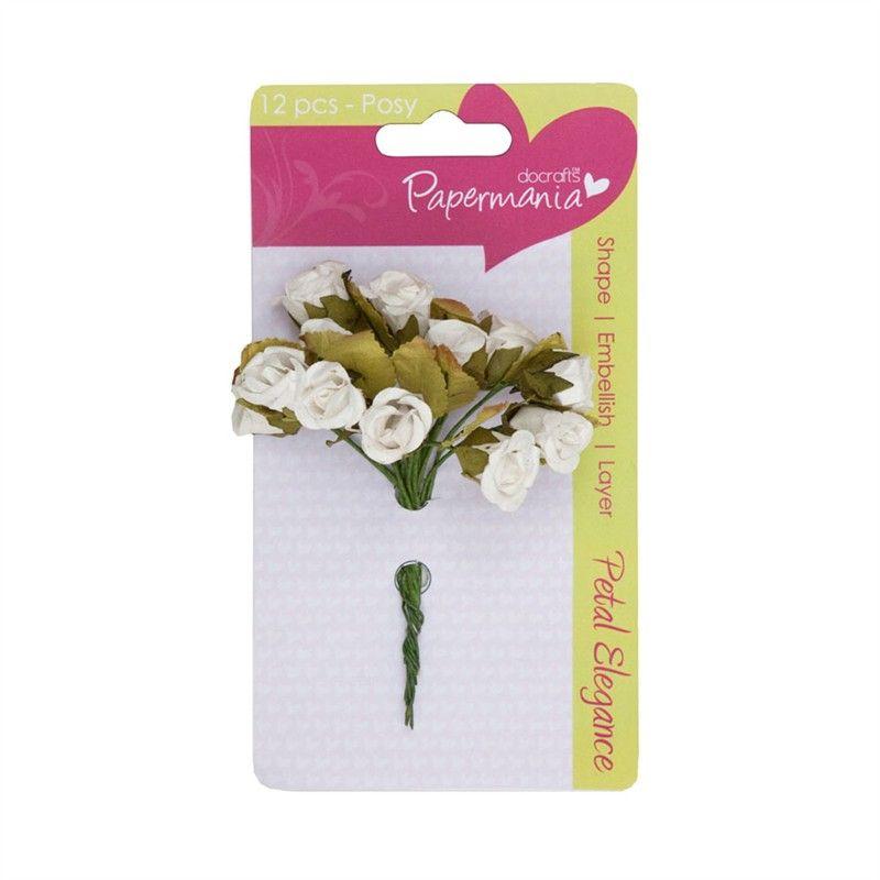 Kytice růžiček WHITE ROSE Papermania