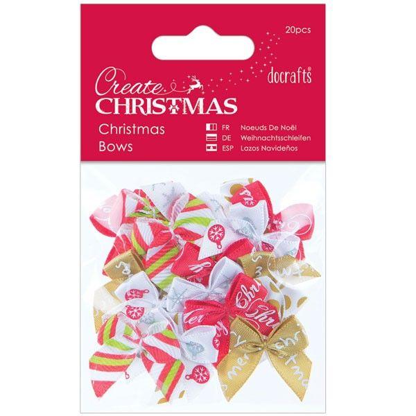 Mašličky (20ks) Vánoční na scrapbooking, cardmaking, zdobení na bloky, přání, alba a stránky Papermania