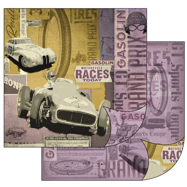 Oboustranný papír na scrapbook Staré závodní automobily STAMPERIA