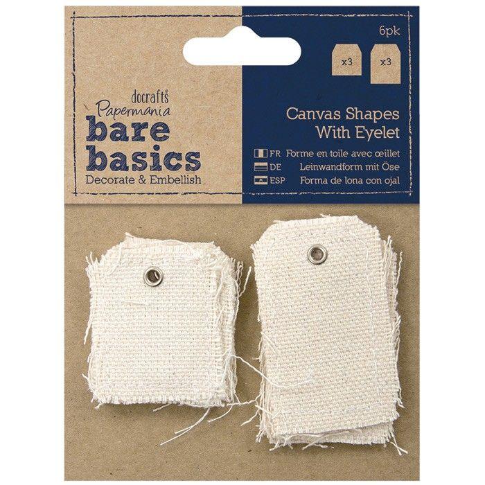 Plátno s průchodkou - malý a velký štítek (6pk) Bare Basics Papermania