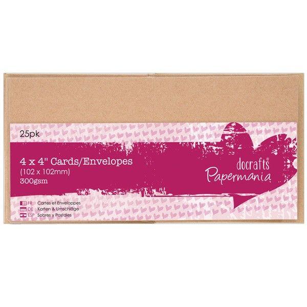 Přání a obálky 10,2x10,2cm (25ks) Hnědé Anita´s
