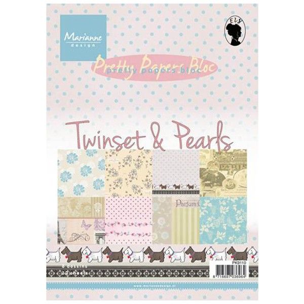 Sada papírů na scrapbooking Marianne Design - Pretty papers bloc Twinsets & Pearls, A5 - 8 ks