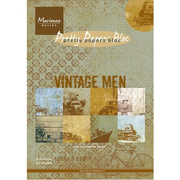 Sada papírů na scrapbooking Marianne Design - Pretty papers bloc Vintage Men, A5 - 8 ks