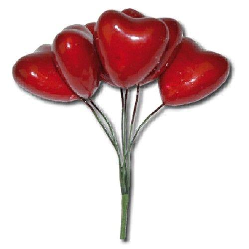 Svazek červených srdcí (6ks) na scrapbooking, do alba, na bloky, přáníčka a jiné dekorace STAMPERIA