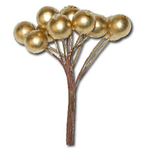 Svazek zlatých bobulí (12ks)) na scrapbooking, do alba, na bloky, přáníčka a jiné dekorace STAMPERIA