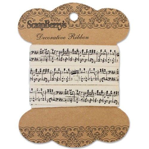 Bavlněná tištěná stuha Music (2m) SCRAPBERRYS