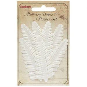 Dekorační kapradinové listy bílé (7ks)