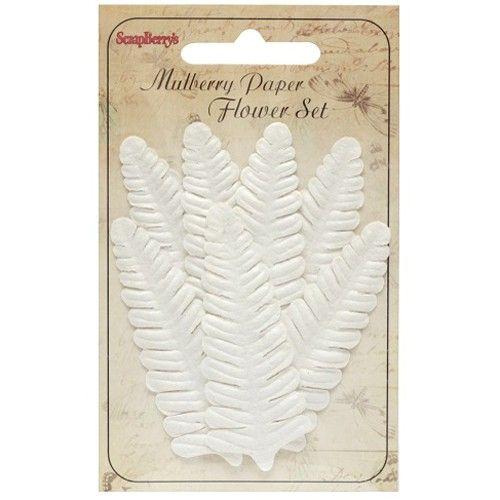 Dekorační kapradinové listy bílé (7ks) SCRAPBERRYS