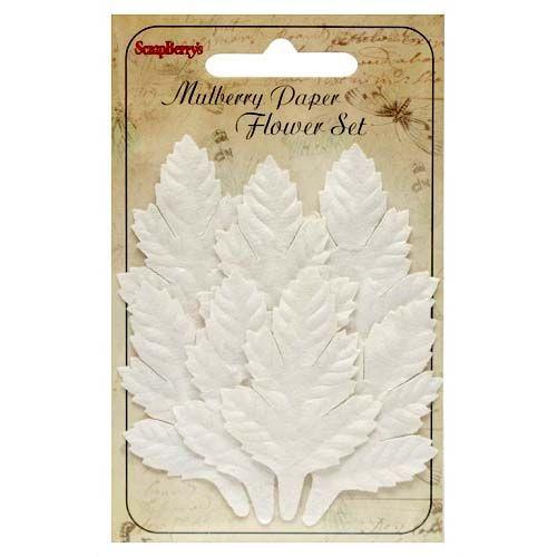 Dekorační listy stromů bílé (7ks) SCRAPBERRYS