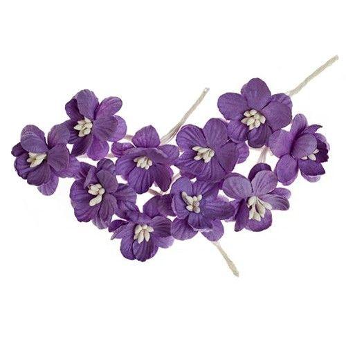 Dekorační třešňové květy (10ks) fialové SCRAPBERRYS