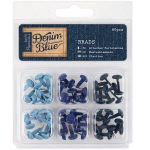 Hřebíčky na scrapbook (60ks) Denim Blue - modré