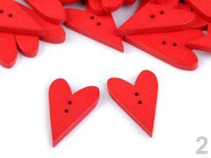 Dřevěný dekorační knoflík rudé srdce  - 4 ks