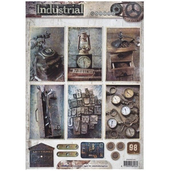 Jednostranný papír na scrapbook A4 Industrial Vintage (1ks) č.131 STUDIO LIGHT