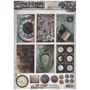 Jednostranný papír na scrapbook A4 Industrial Vintage (1ks) č.1313
