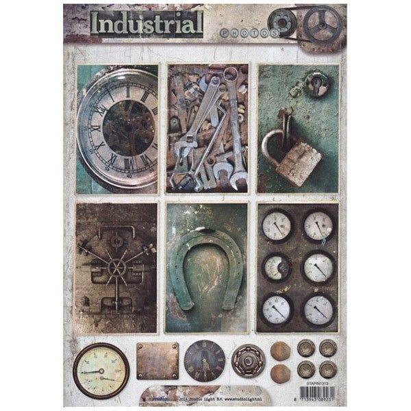 Jednostranný papír na scrapbook A4 Industrial Vintage (1ks) č.1313 STUDIO LIGHT