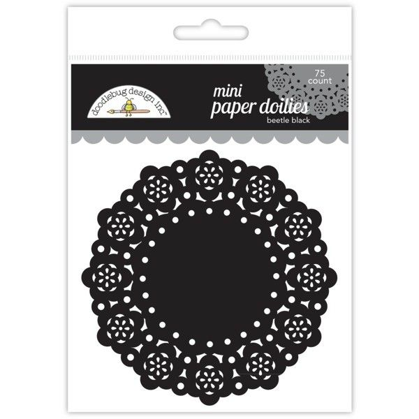 Krajkové papírové výřezy malé, černé - sada k zdobení i dozdobení pro přání a scrapbooking DOODLEBUG DESIGN INC.