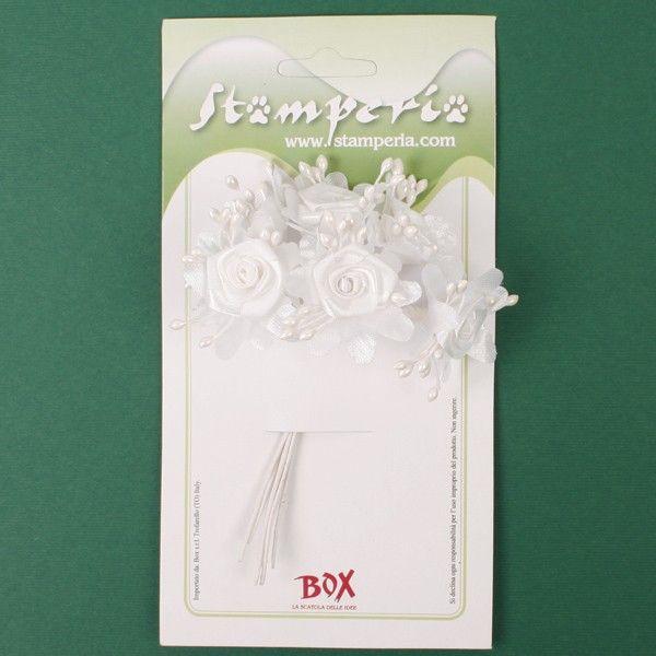 Kytice bílých květů s pestíky (6ks) STAMPERIA