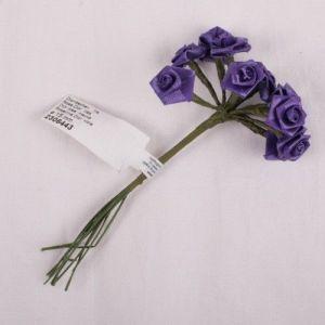 Kytice růžiček ze saténu 12ks lila č. 2