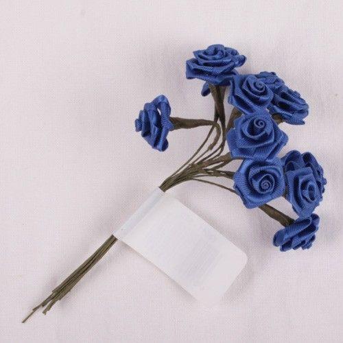 Kytice růžiček ze saténu 12ks tmavě modrá SCRAPBERRYS