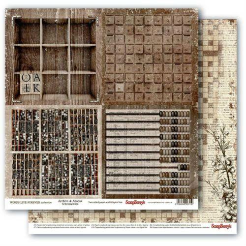 Oboustranný papír na scrapbook ScrapBerry´s Archive & Abacus vyšší gramáže 180 gsm SCRAPBERRYS