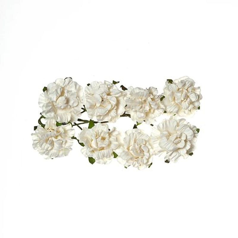 Papírové květiny kadeřavá růžička (8ks) bílá SCRAPBERRYS