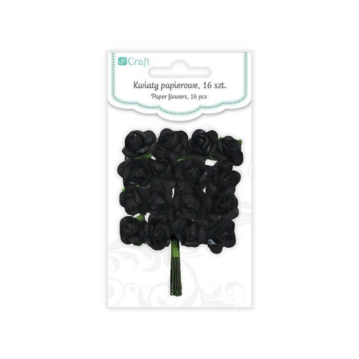 Papírové květy růže (16ks) onyx DP CRAFT