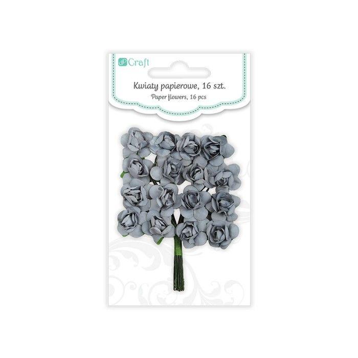Papírové květy růže (16ks) šedé DP CRAFT