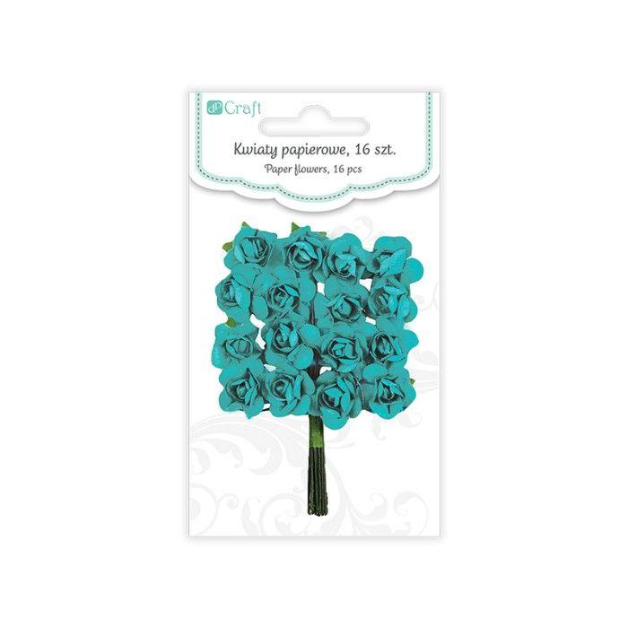 Papírové květy růže (16ks) tyrkysové DP CRAFT