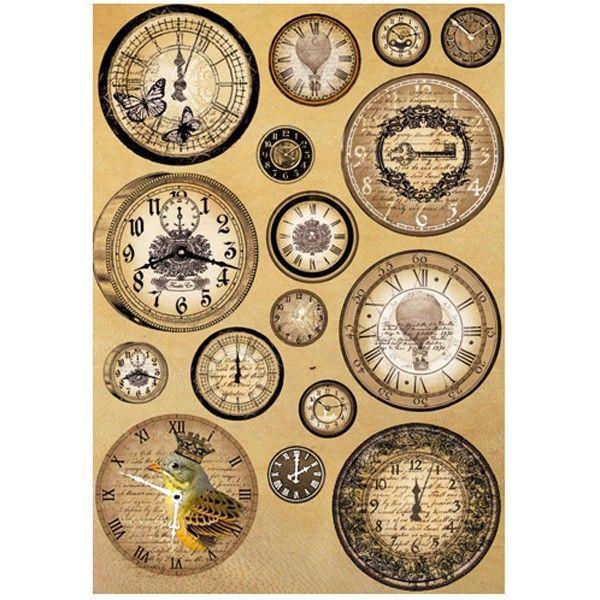 Rýžový papír A4 28g - Vintage hodiny STAMPERIA