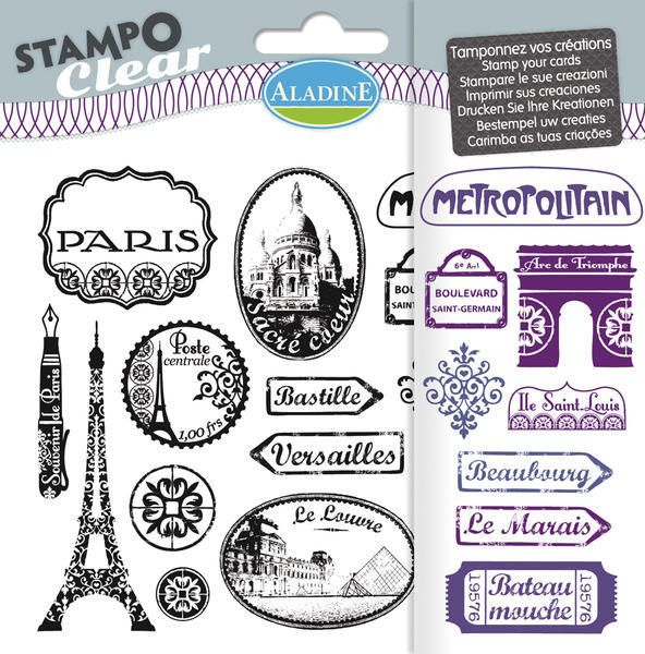 Sada gelových razítek od francozské firmy Aladine StampoClear, Paříž